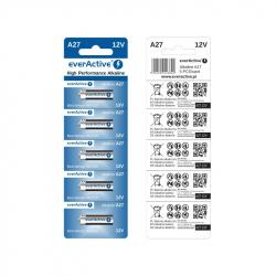 Set of 5 A27 12 V EverActive Alkaline Batteries