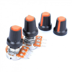 Colored Cover for Potentiometer (Black and Orange)