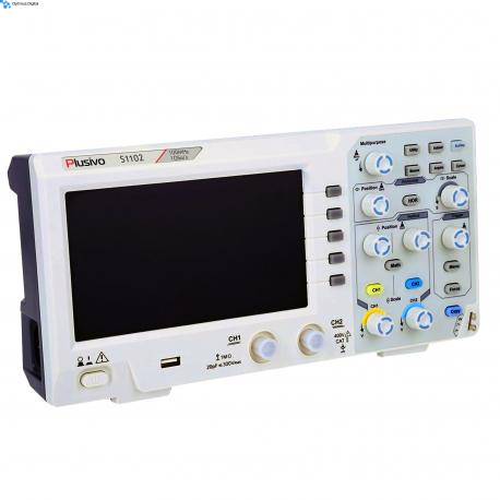 """Plusivo S1102 Digital Oscilloscope (7"""" Display, 2 Channels, 100 MHz, 1 Gsps, 10 kpts)"""