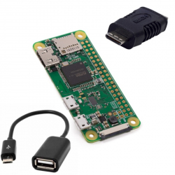 Raspberry Pi Zero W + OTG Cable + Mini HDMI Adapter