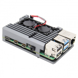 Heatsink Case for Raspberry Pi 4 (Silver Color, Dual Fan)