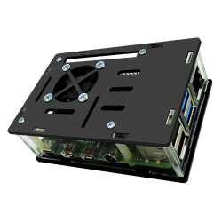 Black and Transparent Case with Fan for Raspberry Pi 4