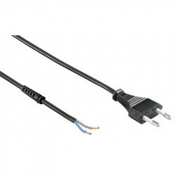 Power Cord, Euro Plug to Free Ends, 1.5 m, Black