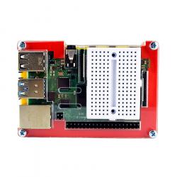 Multicolored Case with White Mini Breadboard for Raspberry Pi 4