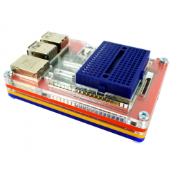 Multicolored Case with Blue Mini Breadboard for Raspberry Pi 4