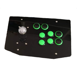 Arcade Joystick with Green Buttons and Black Panel