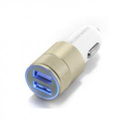 Dual USB Car Charger - Aluminium Head (Gold)