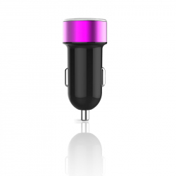 Round Dual USB Car Charger (Purple Ring)