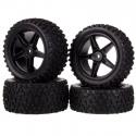 Front + Rear Wheels 88mm Rubber Tire (4 wheels)