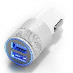 Dual USB Car Charger - Aluminium Head (White)