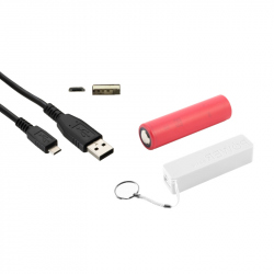 White PowerBank Case, Sanyo 3350 mAh 18650 Battery and Micro USB Cable (PACK)