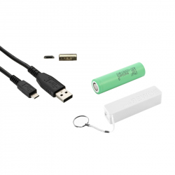 White PowerBank Case, Samsung 2500 mAh 18650 Battery and Micro USB Cable  (PACK)