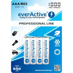 Set of 4 EverActive Ni-MH R03 / AAA 1000 mAh Batteries