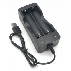 18650 Lithium-Ion Battery Charger Double Slot with USB Cable