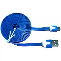 Micro USB Flat-Cord with Data Synchronization, Blue