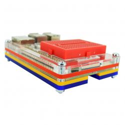Multicolored Case with Red Mini Breadboard for Raspberry Pi 4