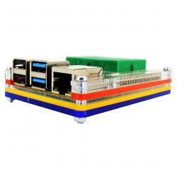 Multicolored Case with Green Mini Breadboard for Raspberry Pi 4