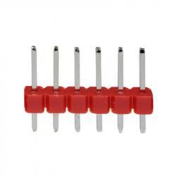 6p 2.54 mm Male Pin Header (Red)