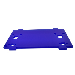 Plate for Front/Back Mounting on the 4 Motors Robot Kit (with mounts for LEDs, Blue)