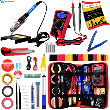 Plusivo Soldering Iron Kit with Digital Multimeter (unsealed, used, black and white flyer)