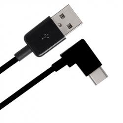 Cablu USB Tip A - USB Tip C (mufa la 90 de grade) de 0.25 m