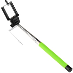 Green Selfie Stick with cable and button, phone holder and wrinkle handle