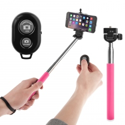 Pink Selfie stick with bluetooth and remote control