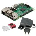 Raspberry Pi 3 Model B + 2.5 A 5.1 V Power Supply + White with Red Raspberry Case (Pack)