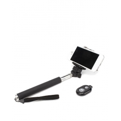 Black Selfie Stick with Bluetooth and Remote Control