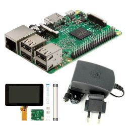 Pachet Raspberry Pi 3 Model B + Alimentator de 2.5 A, 5.1 V + LCD cu Touchscreen de 7''
