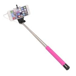 Selfie stick roz cu cablu, suport pentru telefon si maner ridat