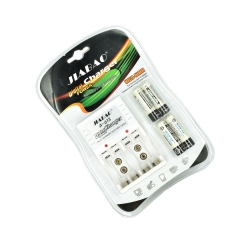 Set 4 NiMH AA NiMH AA Rechargeable Batteries AA-AAA / 9V (Dual Charger)