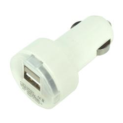 Incarcator auto USB dual cu capac transparent (alb)