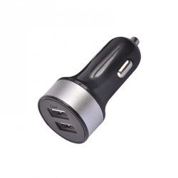 Round Dual USB Car Charger (Silver Ring)